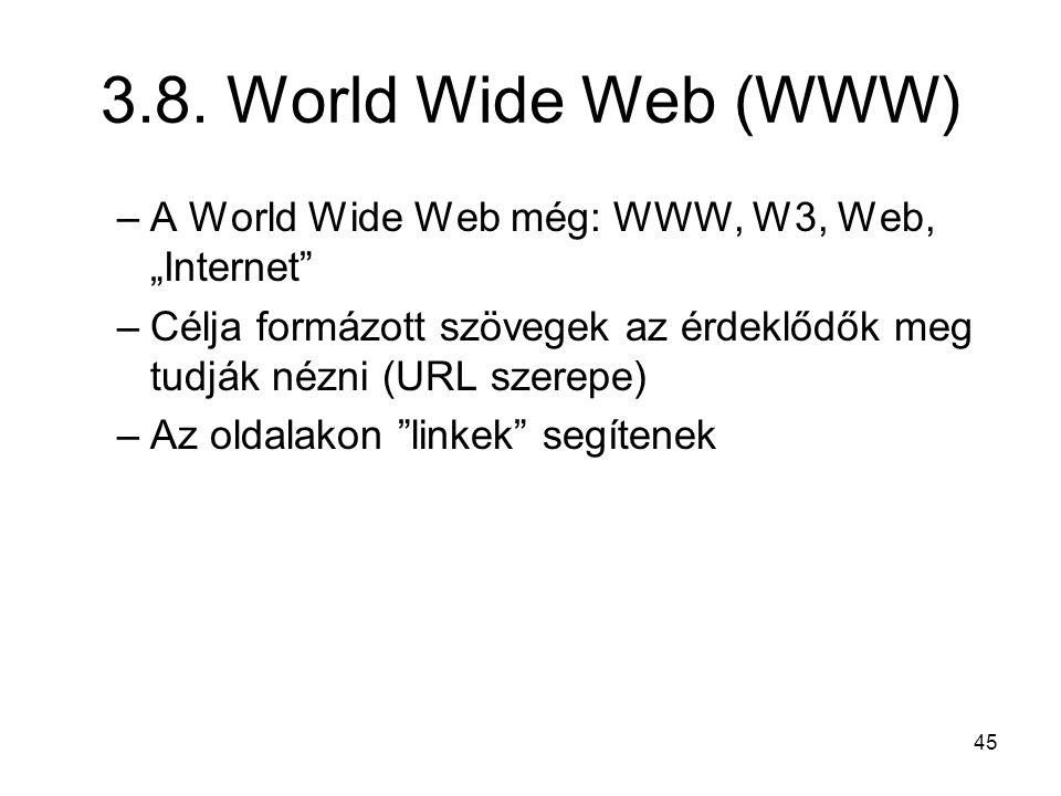 """3.8. World Wide Web (WWW) A World Wide Web még: WWW, W3, Web, """"Internet Célja formázott szövegek az érdeklődők meg tudják nézni (URL szerepe)"""