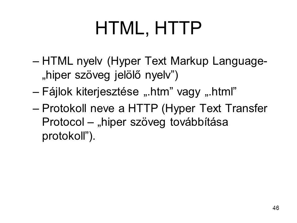 """HTML, HTTP HTML nyelv (Hyper Text Markup Language- """"hiper szöveg jelölő nyelv ) Fájlok kiterjesztése """".htm vagy """".html"""
