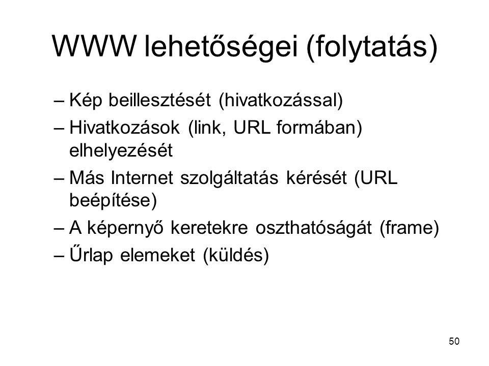 WWW lehetőségei (folytatás)