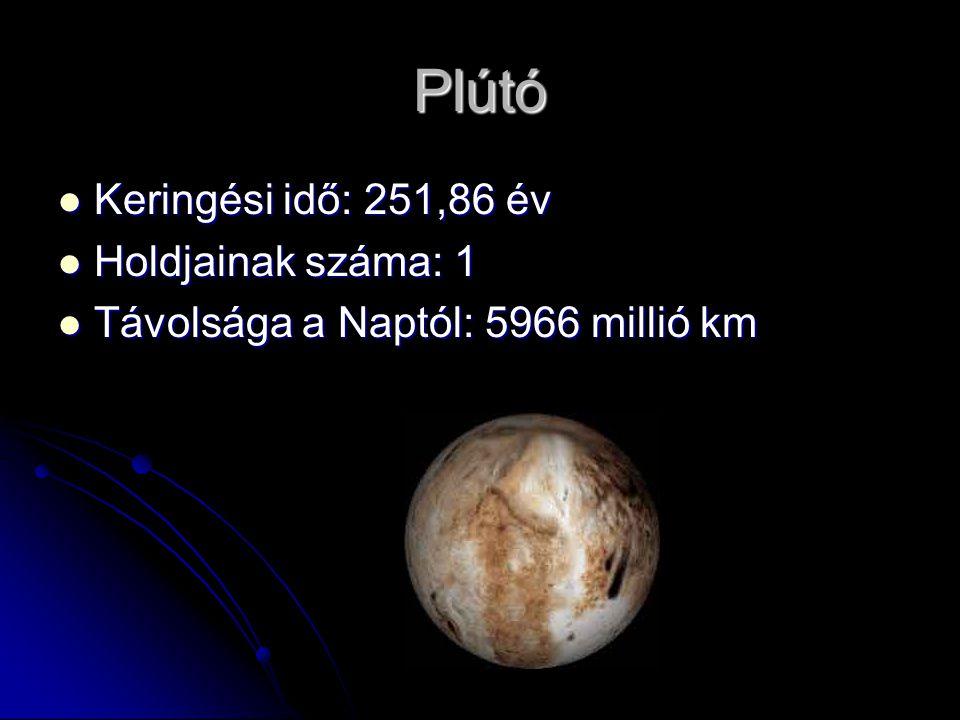 Plútó Keringési idő: 251,86 év Holdjainak száma: 1