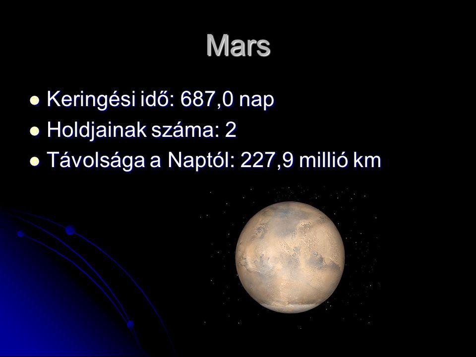 Mars Keringési idő: 687,0 nap Holdjainak száma: 2