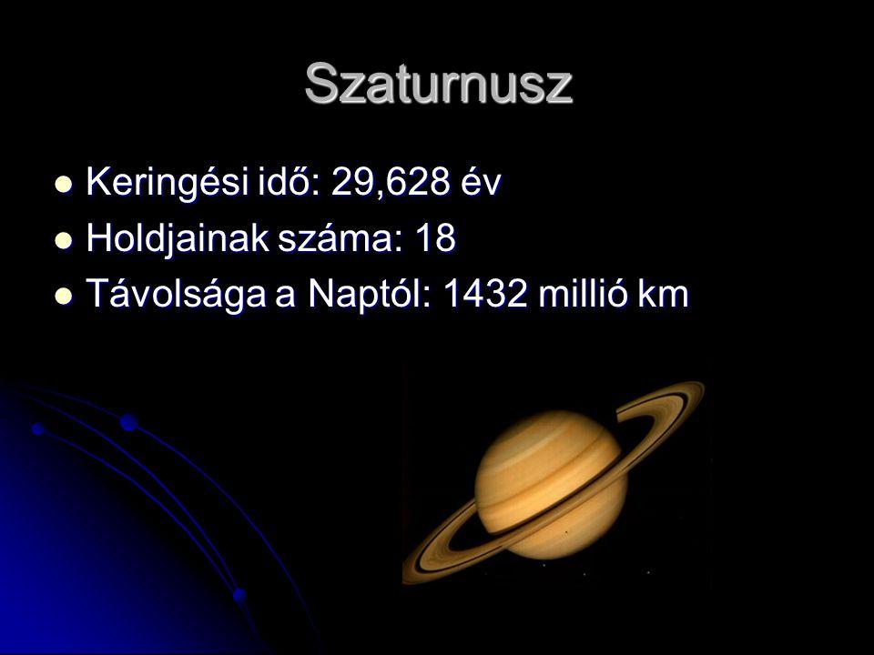 Szaturnusz Keringési idő: 29,628 év Holdjainak száma: 18