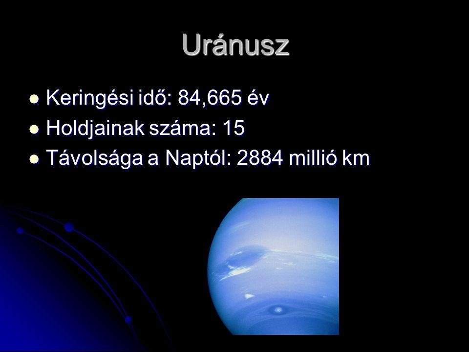 Uránusz Keringési idő: 84,665 év Holdjainak száma: 15