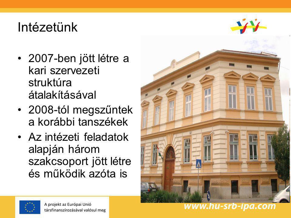 Intézetünk 2007-ben jött létre a kari szervezeti struktúra átalakításával. 2008-tól megszűntek a korábbi tanszékek.