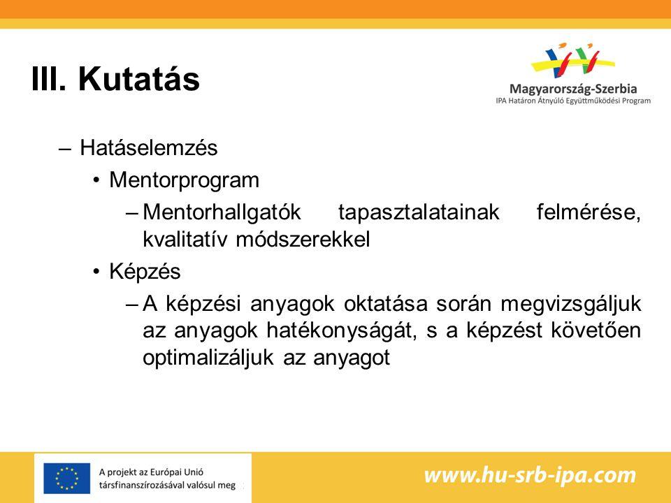 III. Kutatás Hatáselemzés Mentorprogram