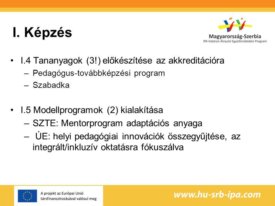 I. Képzés I.4 Tananyagok (3!) előkészítése az akkreditációra
