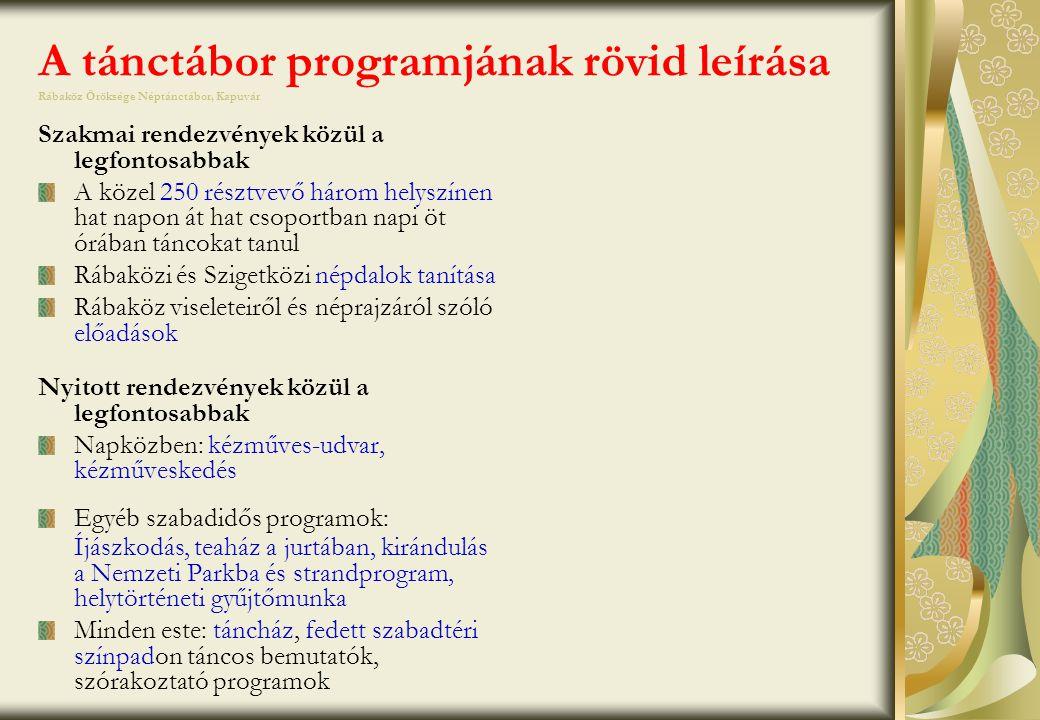 A tánctábor programjának rövid leírása Rábaköz Öröksége Néptánctábor, Kapuvár