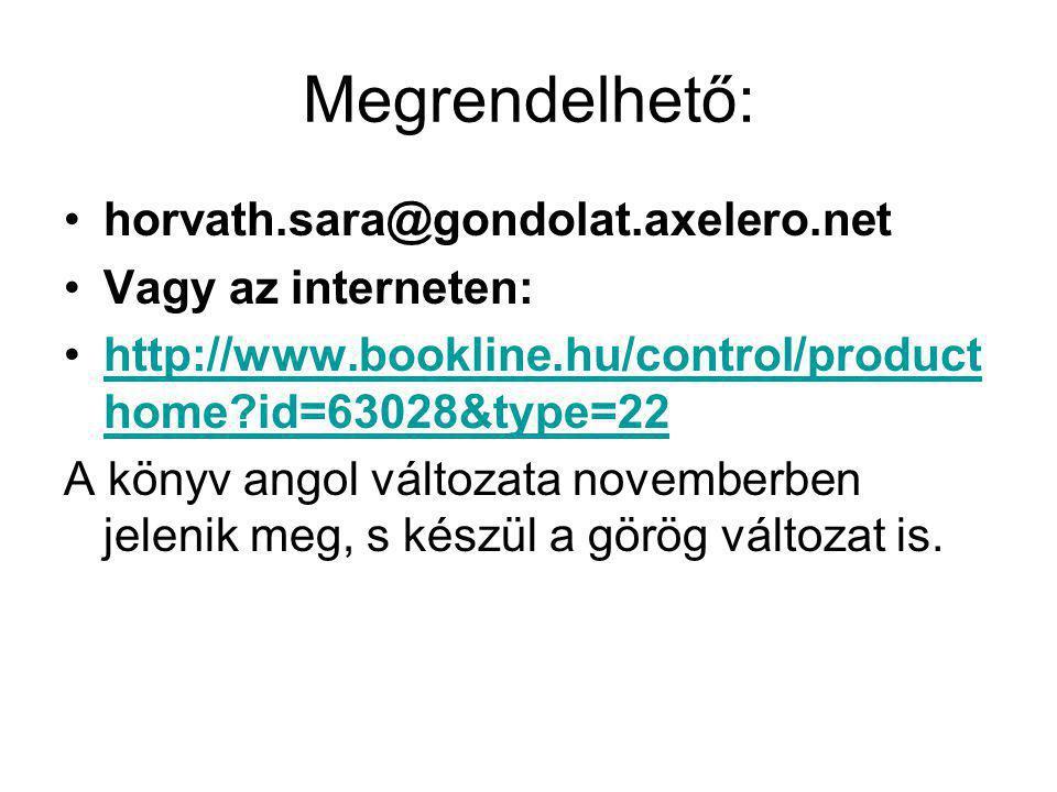 Megrendelhető: horvath.sara@gondolat.axelero.net Vagy az interneten: