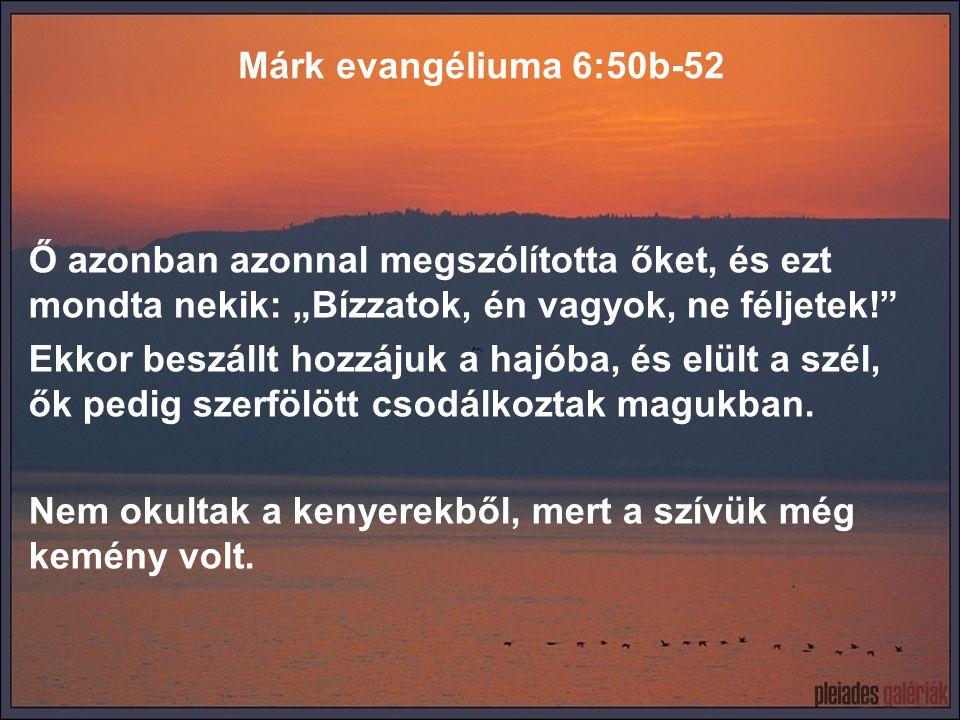 """Márk evangéliuma 6:50b-52 Ő azonban azonnal megszólította őket, és ezt mondta nekik: """"Bízzatok, én vagyok, ne féljetek!"""