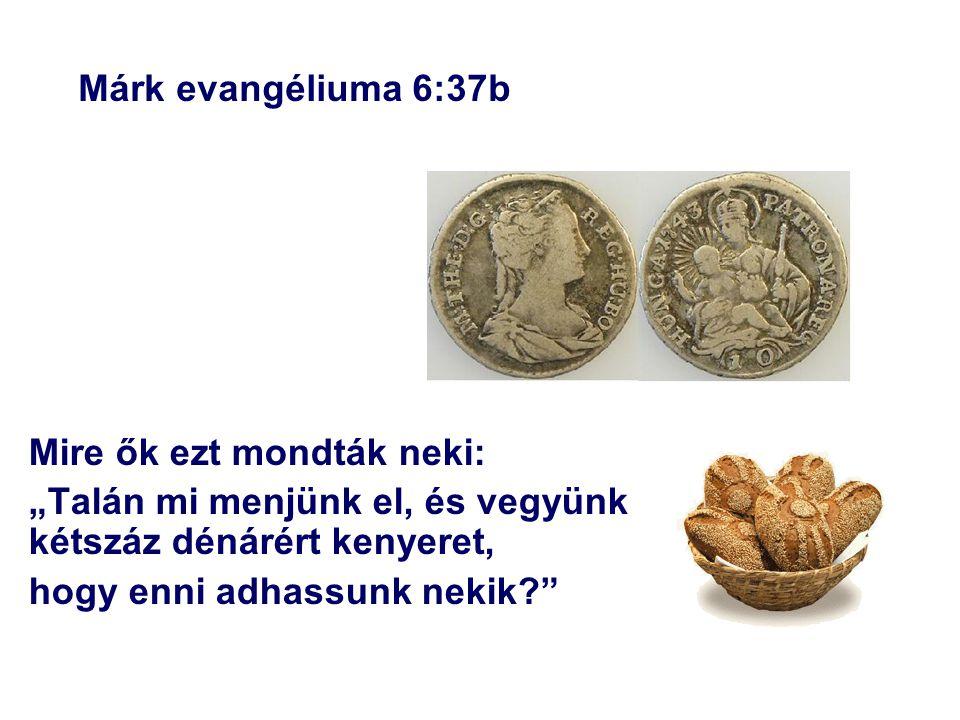 """Márk evangéliuma 6:37b Mire ők ezt mondták neki: """"Talán mi menjünk el, és vegyünk kétszáz dénárért kenyeret,"""