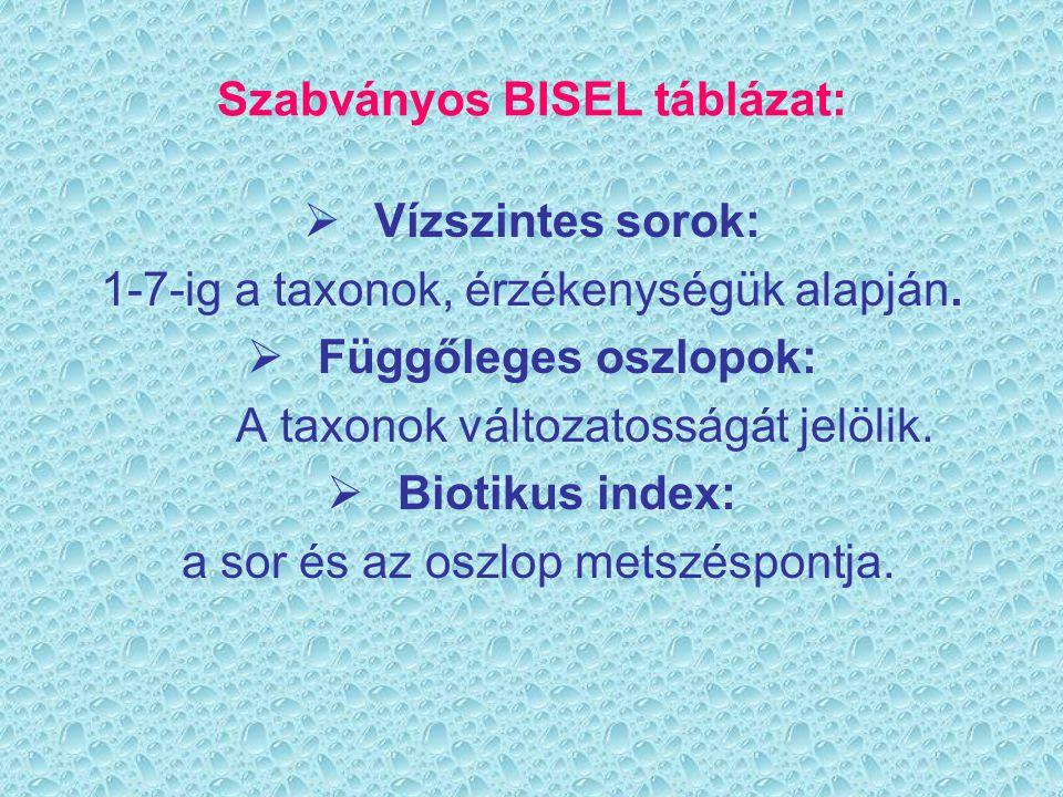Szabványos BISEL táblázat: