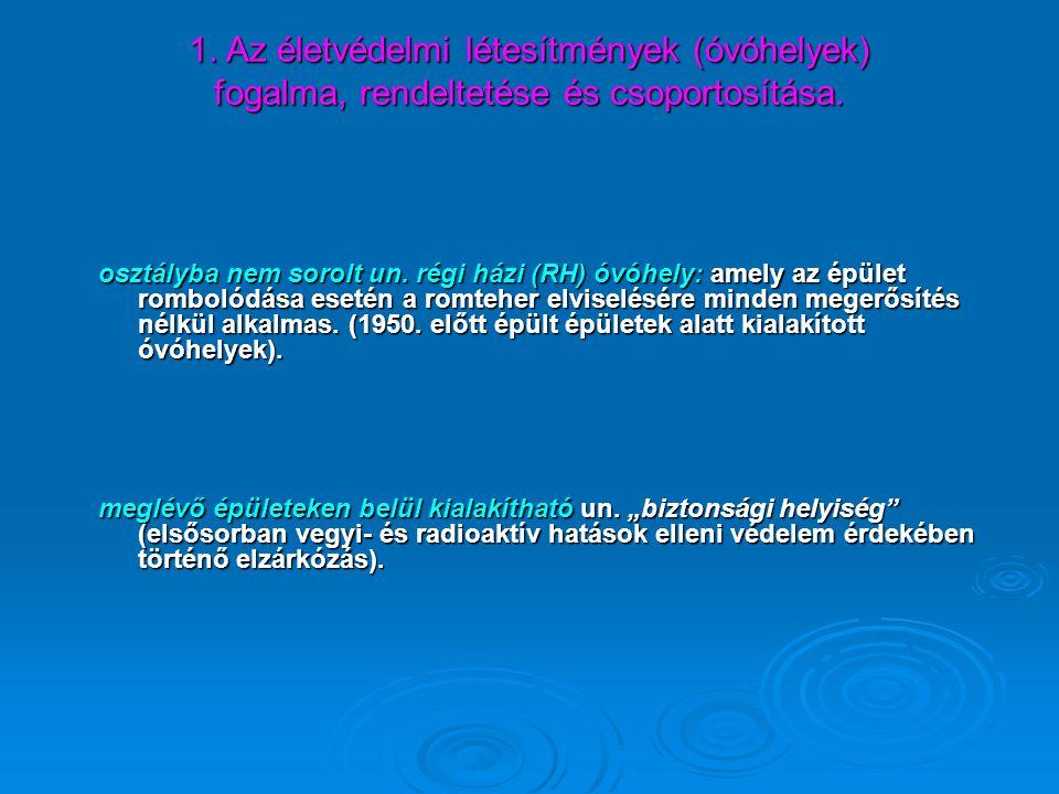 1. Az életvédelmi létesítmények (óvóhelyek) fogalma, rendeltetése és csoportosítása.