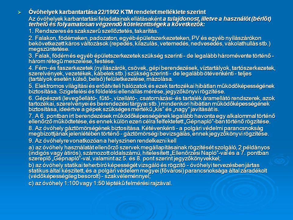 Óvóhelyek karbantartása 22/1992 KTM rendelet melléklete szerint