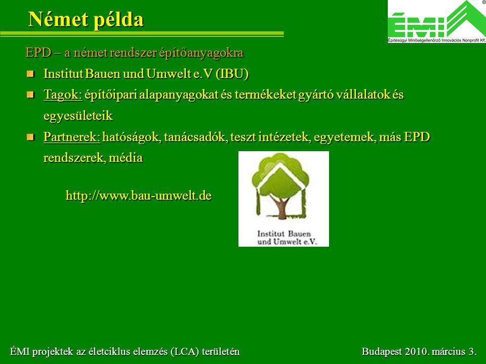 Német példa EPD – a német rendszer építőanyagokra