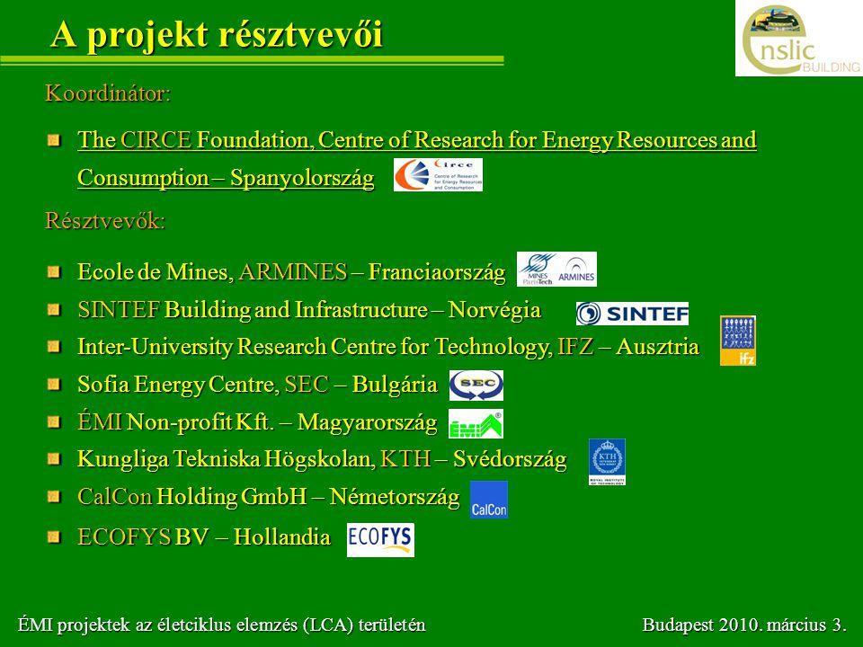 A projekt résztvevői Koordinátor: