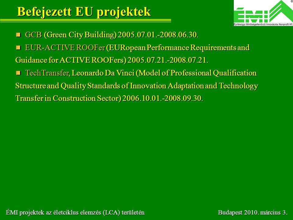 Befejezett EU projektek
