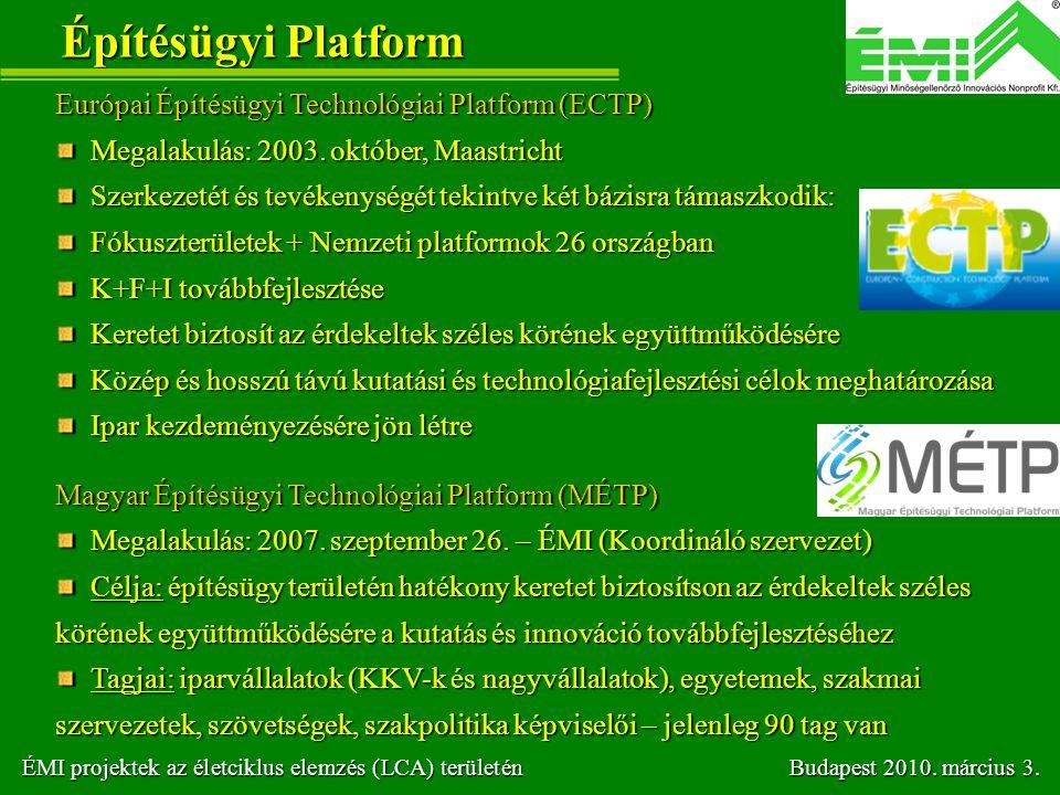 Építésügyi Platform Európai Építésügyi Technológiai Platform (ECTP)