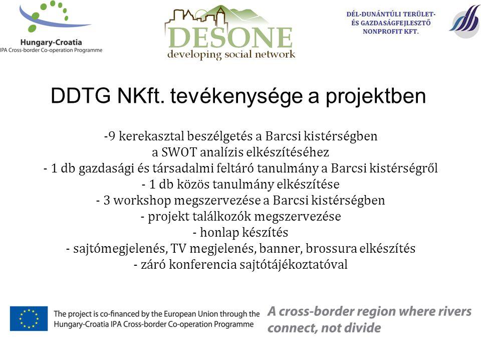 DDTG NKft. tevékenysége a projektben