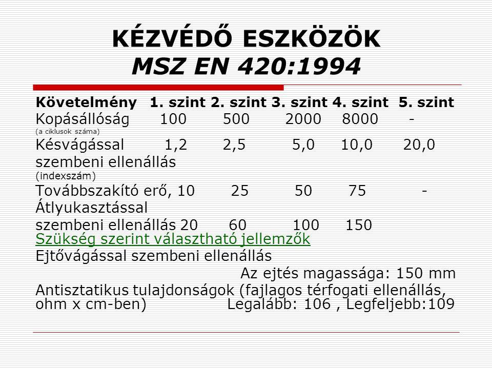 KÉZVÉDŐ ESZKÖZÖK MSZ EN 420:1994