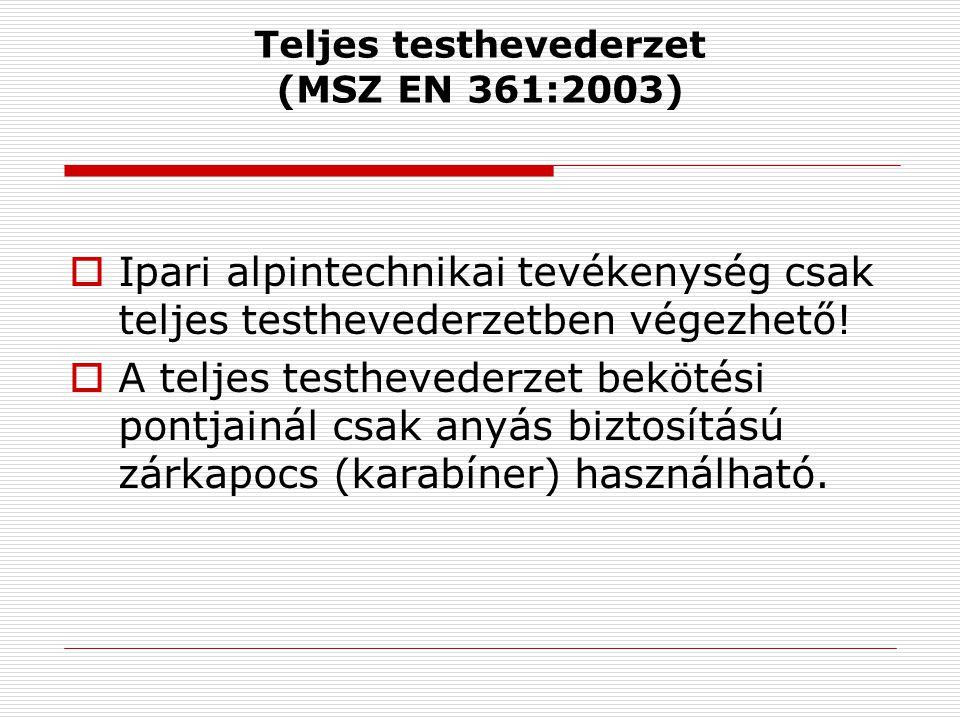 Teljes testhevederzet (MSZ EN 361:2003)