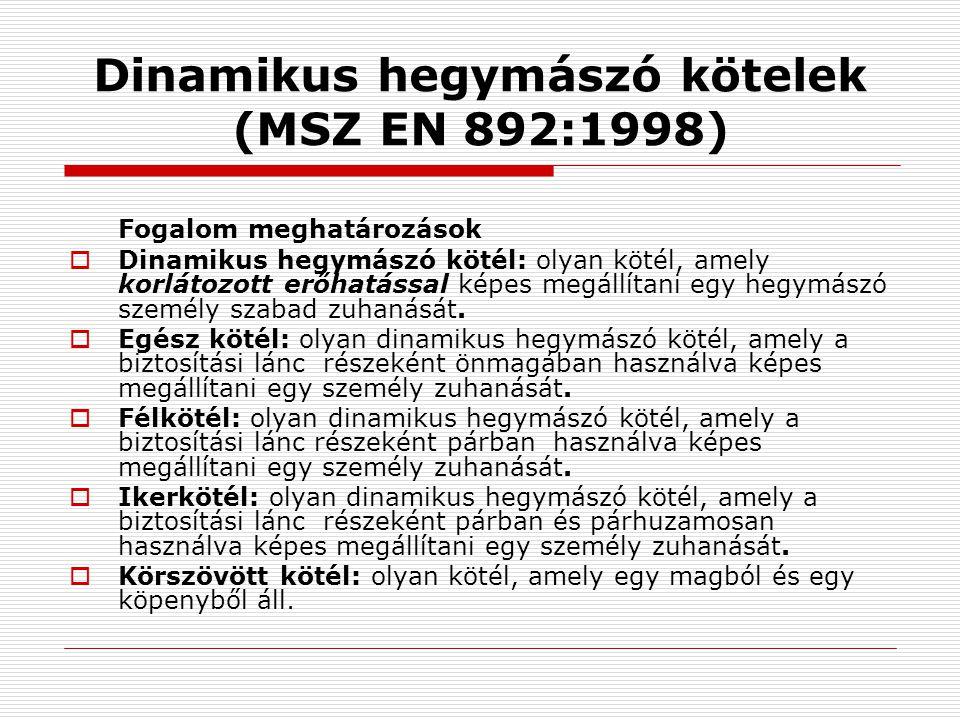 Dinamikus hegymászó kötelek (MSZ EN 892:1998)