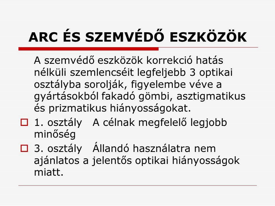 ARC ÉS SZEMVÉDŐ ESZKÖZÖK