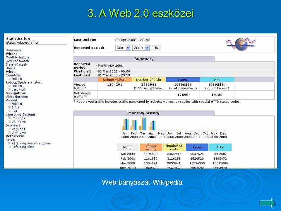 3. A Web 2.0 eszközei Web-bányászat Wikipedia