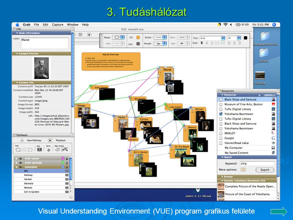 Visual Understanding Environment (VUE) program grafikus felülete
