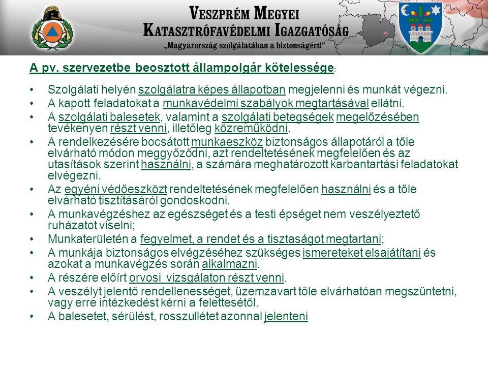 A pv. szervezetbe beosztott állampolgár kötelessége: