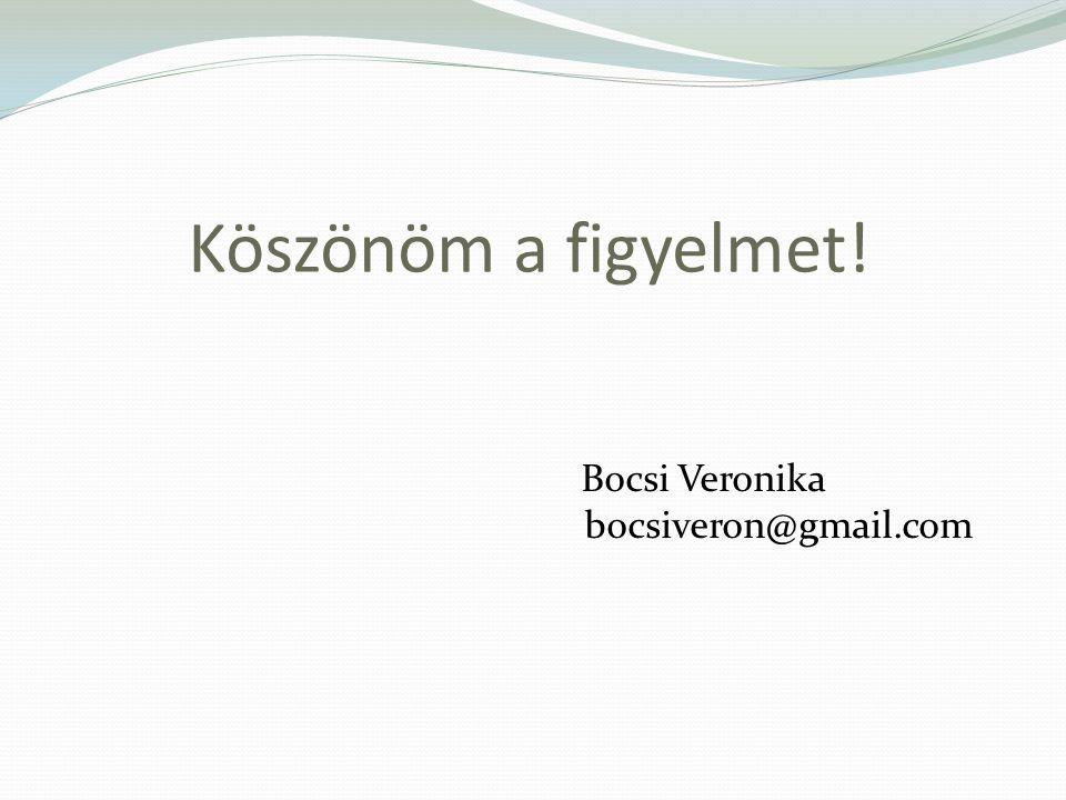 Köszönöm a figyelmet! Bocsi Veronika bocsiveron@gmail.com