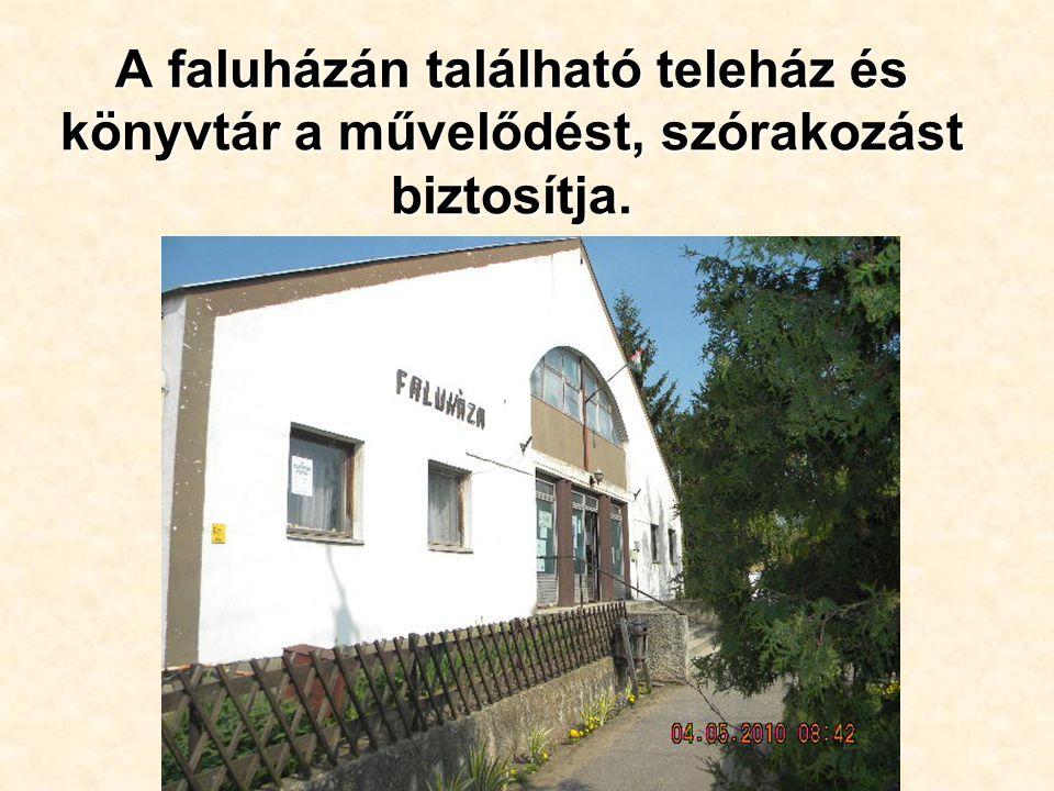 A faluházán található teleház és könyvtár a művelődést, szórakozást biztosítja.