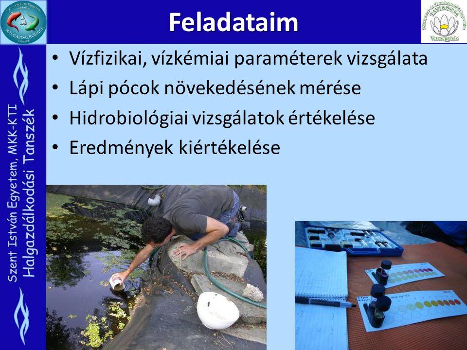 Feladataim Vízfizikai, vízkémiai paraméterek vizsgálata