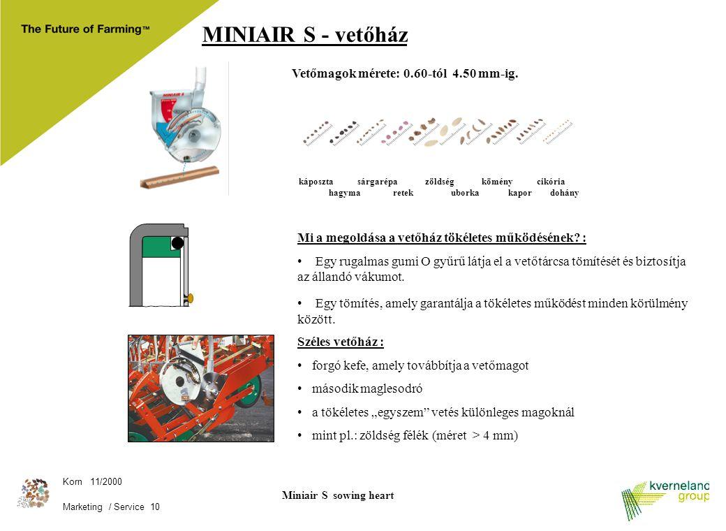 MINIAIR S - vetőház Vetőmagok mérete: 0.60-tól 4.50 mm-ig.