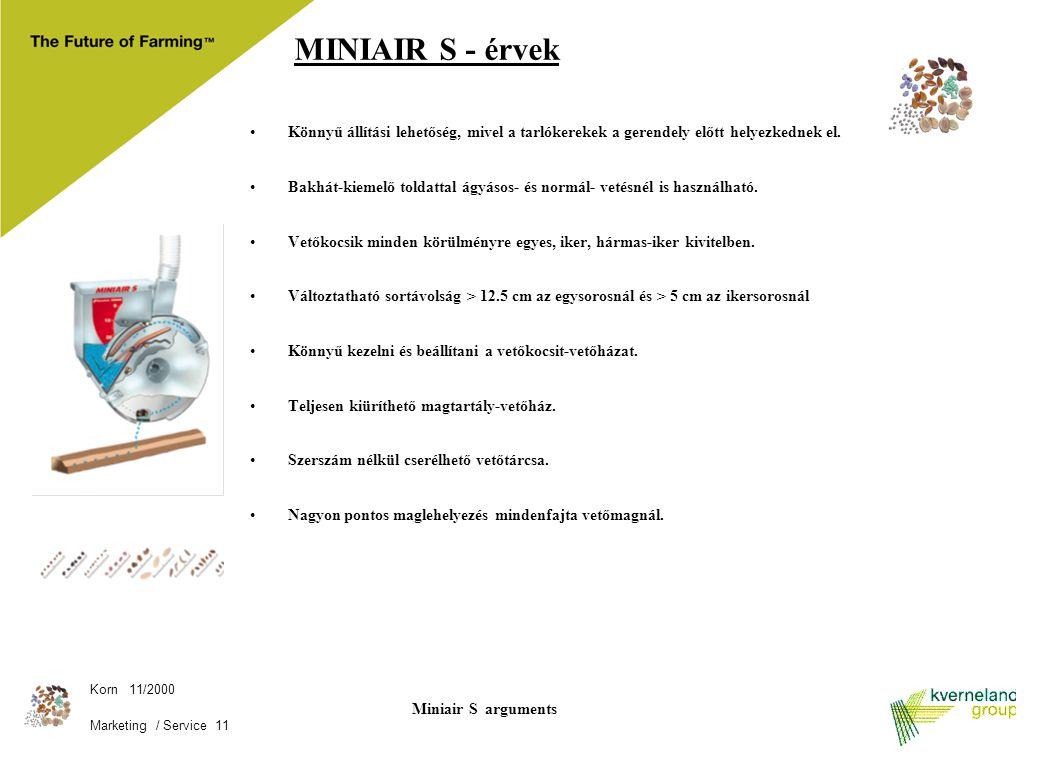 MINIAIR S - érvek Könnyű állítási lehetőség, mivel a tarlókerekek a gerendely előtt helyezkednek el.