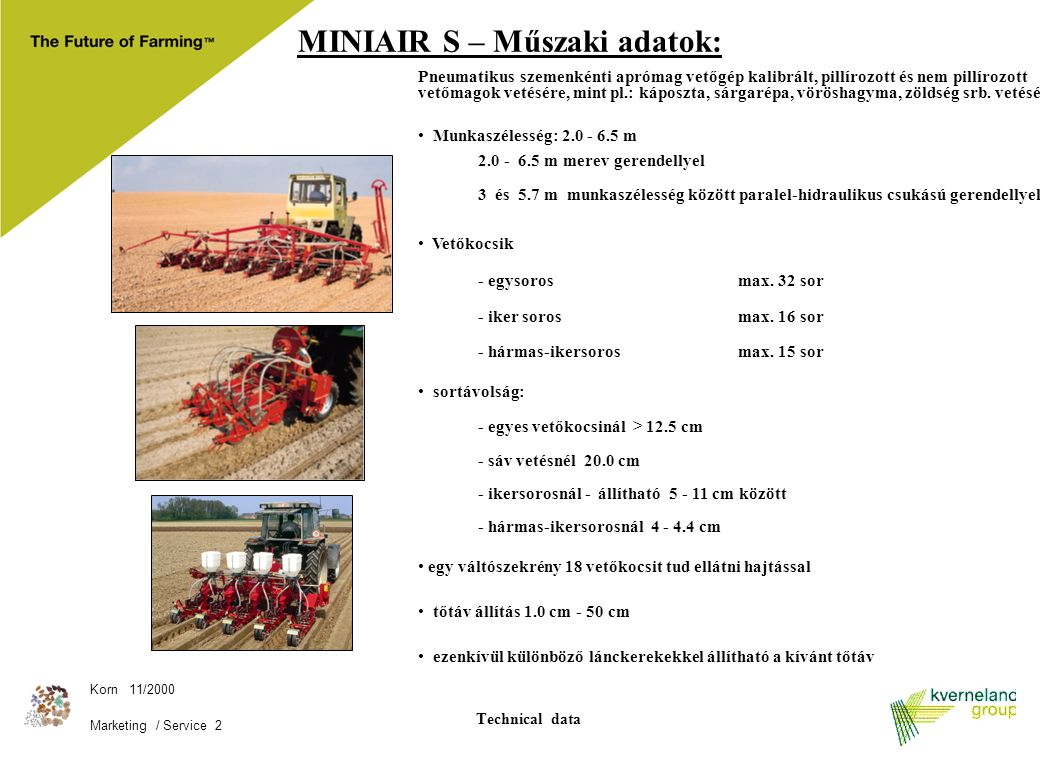 MINIAIR S – Műszaki adatok: