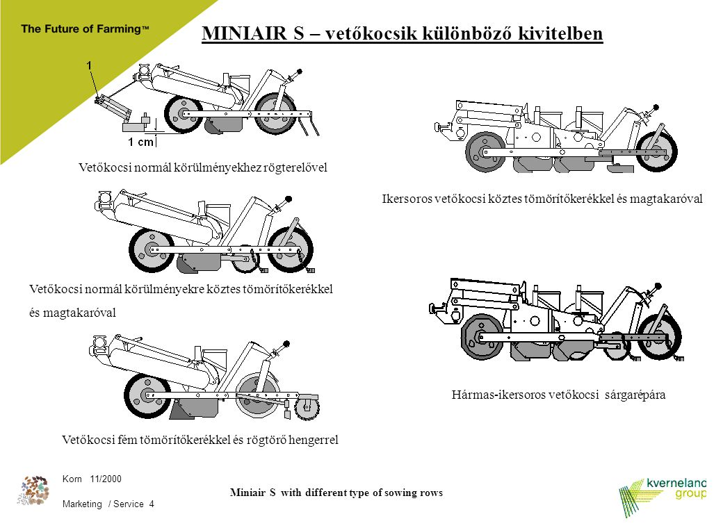 Miniair S with different type of sowing rows
