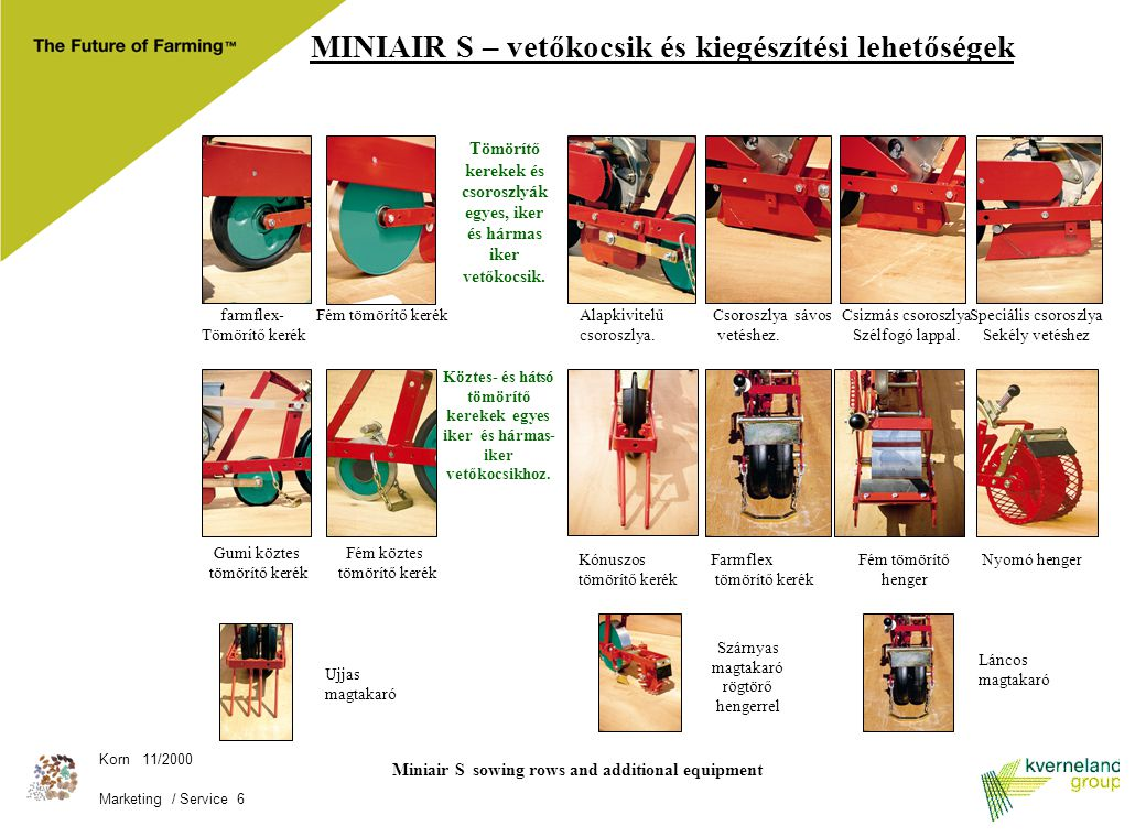 Miniair S sowing rows and additional equipment