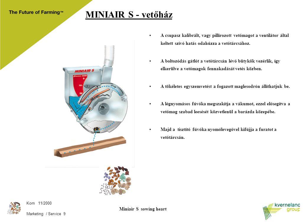 MINIAIR S - vetőház A csupasz kalibrált, vagy pillírozott vetőmagot a ventilátor által keltett szívó hatás odahúzza a vetőtárcsához.