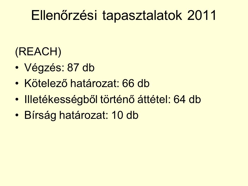 Ellenőrzési tapasztalatok 2011