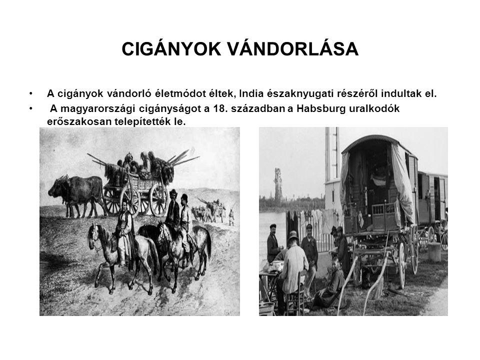 CIGÁNYOK VÁNDORLÁSA A cigányok vándorló életmódot éltek, India északnyugati részéről indultak el.