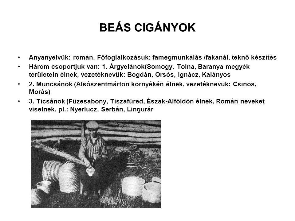 BEÁS CIGÁNYOK Anyanyelvük: román. Főfoglalkozásuk: famegmunkálás /fakanál, teknő készítés.