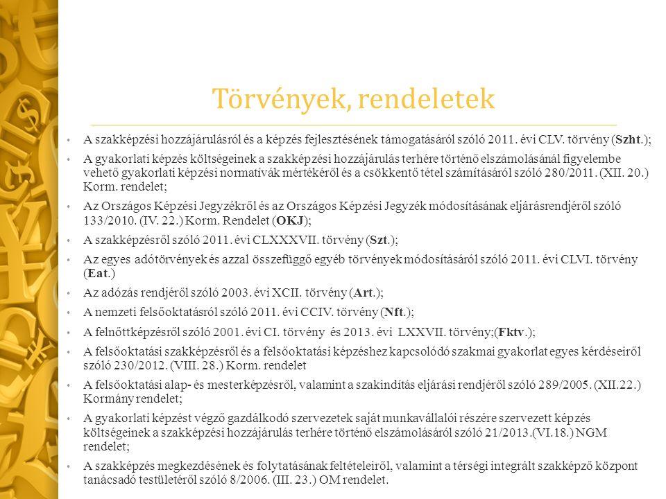 Törvények, rendeletek A szakképzési hozzájárulásról és a képzés fejlesztésének támogatásáról szóló 2011. évi CLV. törvény (Szht.);
