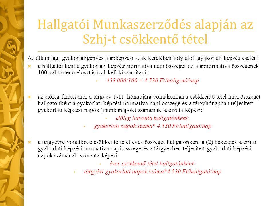 Hallgatói Munkaszerződés alapján az Szhj-t csökkentő tétel