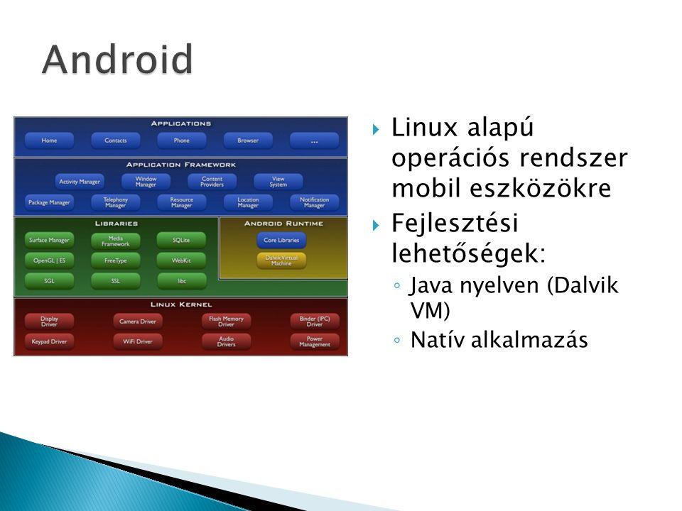 Android Linux alapú operációs rendszer mobil eszközökre