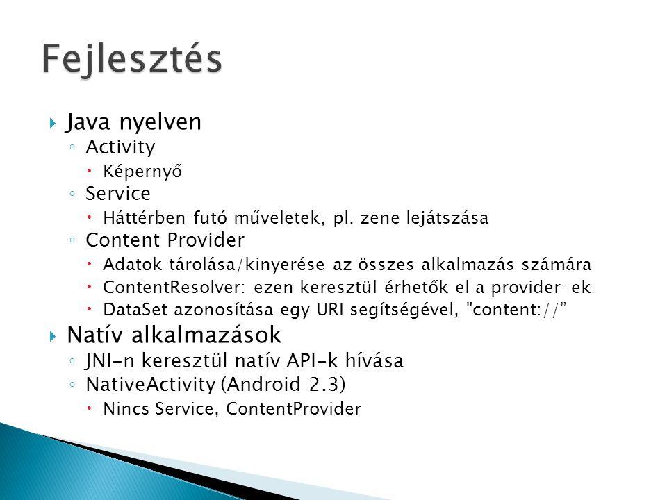 Fejlesztés Java nyelven Natív alkalmazások Activity Service
