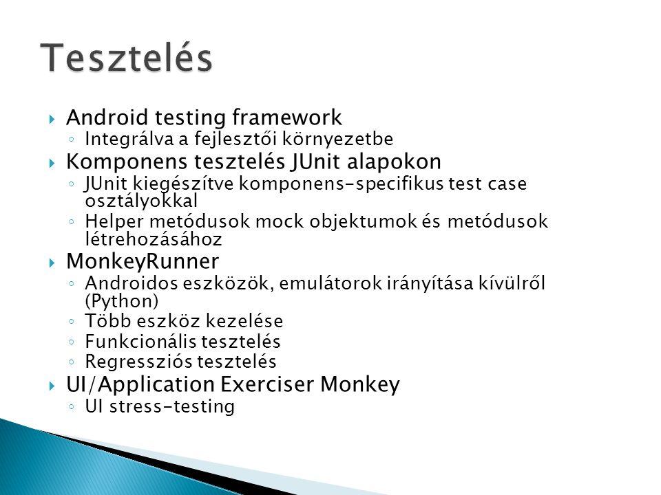 Tesztelés Android testing framework Komponens tesztelés JUnit alapokon