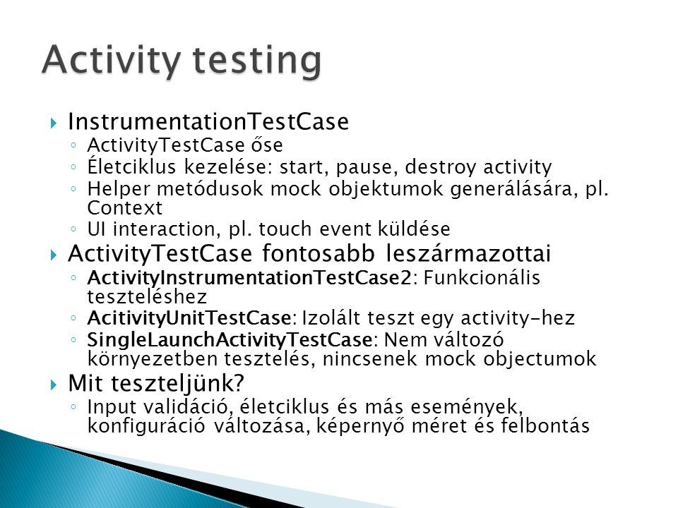 Activity testing InstrumentationTestCase