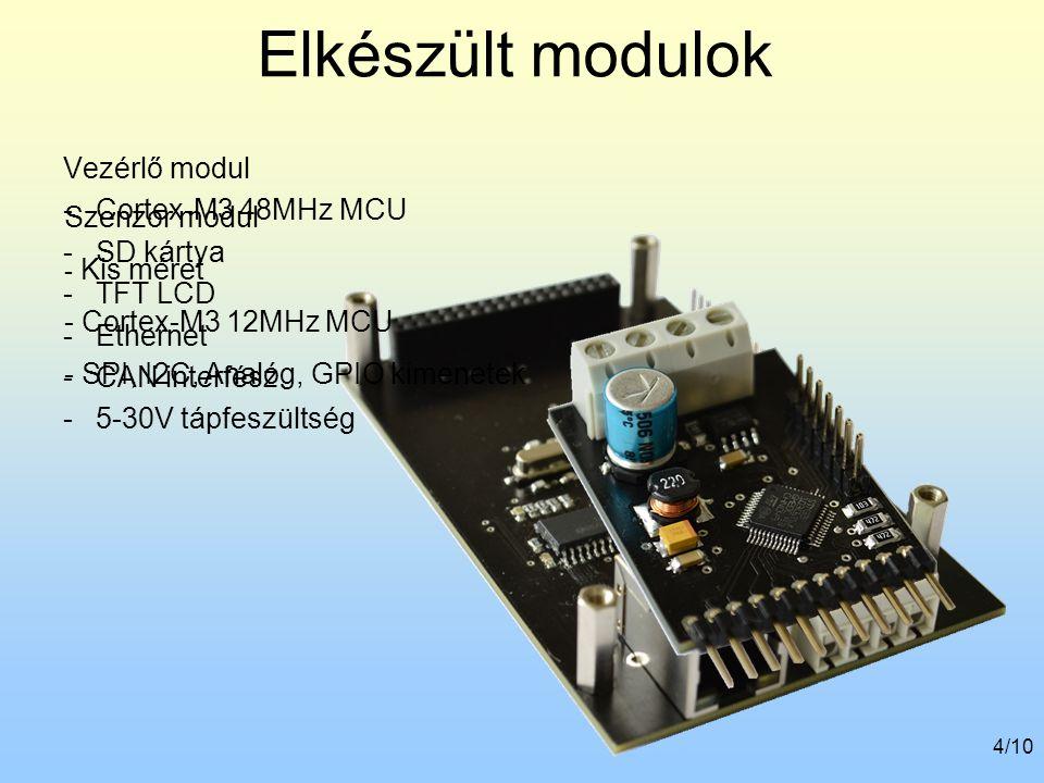 Elkészült modulok Vezérlő modul Cortex-M3 48MHz MCU SD kártya