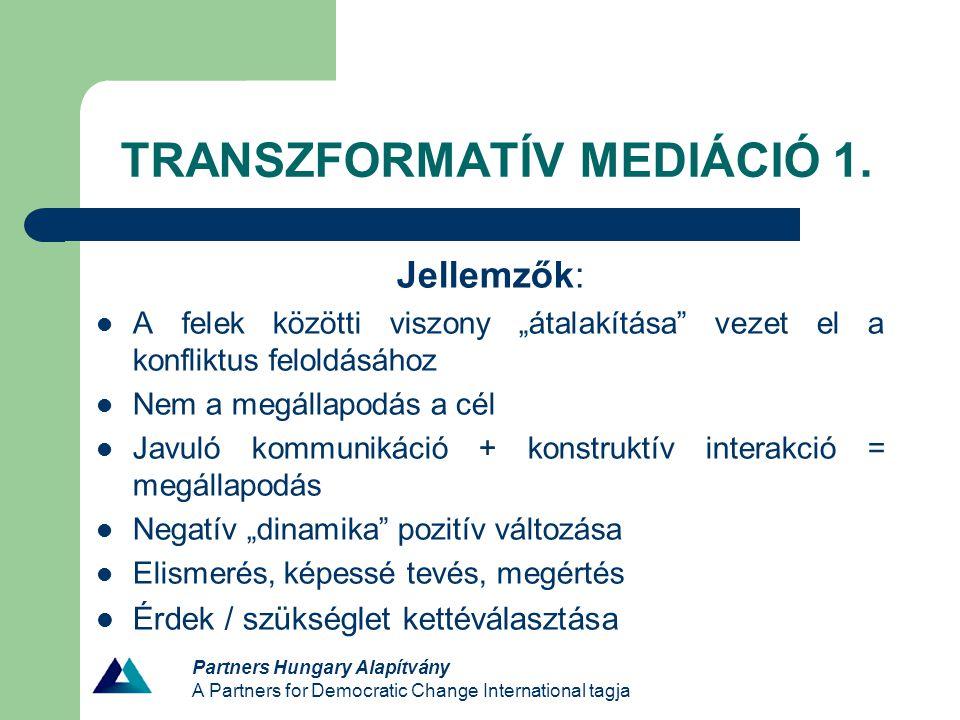 TRANSZFORMATÍV MEDIÁCIÓ 1.