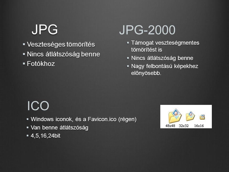 JPG JPG-2000 ICO Veszteséges tömörítés Nincs átlátszóság benne